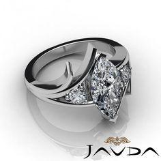 Marquise Cut Diamond  Marquise Cut Diamond 3 Stone Designer Engagement Ring GIA I SI1 Platinum 1 2 Ct   eBay