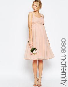 3334b54061 ASOS Maternity WEDDING Ruched Panelled Midi Dress at asos.com
