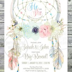 """Dreamcatcher bohemian Big Reveal, Boy or Girl, Blue or Pink, He or She, Baby Shower, Gender Reveal invitation. DIGITAL printable files. Original artwork. Customized by me with your details. Please, read the description before purchasing.  This listing is: – One two-sided digital 5""""x7"""" card. FILES INCLUDED: – 1 card (5""""x7"""", JPEG, 300 dpi) – 1 layout (2-cards with crop marks, 8,5x11"""", JPEG, 300 dpi) – 1 back pattern design (8,5""""x11"""", JPEG, 300 dpi) – 1 back pattern design (5x7, JPEG, 300 dpi)…"""