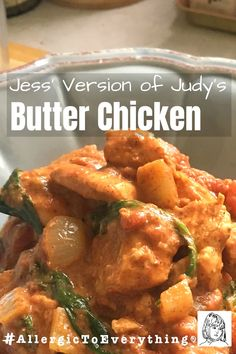 Jess' version of Judy's Butter Chicken – if spicy offends you, cut the cayenne in half, at least. This recipe is very delicious and may result in cooking so many times that you get sick of it. Proceed with caution.