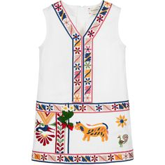 Girls ivory sleeveless dress by Gucci with a zip at the back to fasten for easier changing. Made in a softly textured mid-weight cotton twill with bold embroidery featuring flowers and fruit. On the front, it has a knitted floral appliqué with loose red strawberries to finish.