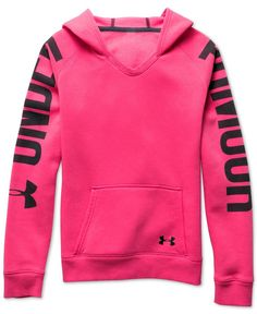 She'll love the loose fit and lightweight stretch construction of Under Armour's favorite graphic-print hoodie.   Cotton/polyester   Machine washable   Imported   V-neck   Attached hood with drawstrin
