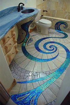 mosaic bathroom floor by Antonio Gaudi! Glass Tile Bathroom, Mermaid Bathroom Decor, Bathroom Tile Designs, Glass Mosaic Tiles, Mosaic Designs, Bathroom Flooring, Mosaic Ideas, Bathroom Ideas, Modern Bathroom