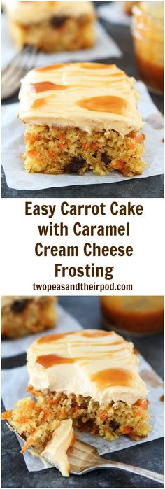 Easy Carrot Cake with Caramel Cream Cheese Frosting Recipe on twopeasandtheirpod.com This easy carrot cake is super moist and is finished with a creamy caramel cream cheese frosting! It is a must make dessert for spring and Easter!