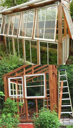 12 amazing DIY she shed and greenhouse ideas: how to create beautiful backyard offices, studios and garden rooms with reclaimed windows and other materials. #greenhouseideas #backyardshed #ShedBuilding