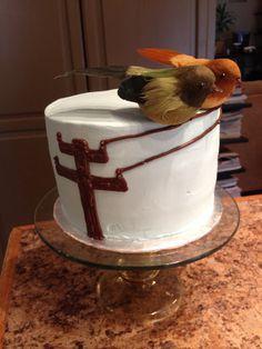 Birds on a wire wedding cake by Karen's Kaykes