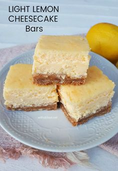 Light Lemon Cheesecake Bars are easy to make and always a welcome dessert treat. Only 6 ingredients in this easy, basic cheesecake recipe Basic Cheesecake, Lemon Cheesecake Bars, Cheesecake Recipes, No Bake Desserts, Easy Desserts, Delicious Desserts, Dessert Recipes, Yummy Food, Fun Food