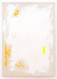 """""""Up to Some Paradise,"""" white and yellow abstract painting by artist Struan Teague 