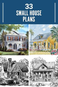 Maybe you're an empty nester, maybe you are downsizing, or maybe you just love to feel snug as a bug in your home. Whatever the case, we've got a bunch of small house plans that pack a lot of smartly-designed features, gorgeous and varied facades, and small cottage appeal. #southernlivinghouseplans #smallhouseplans #houselayout #dreamhome #southernliving