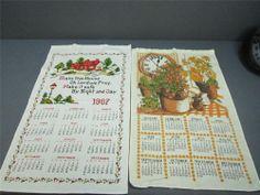 Vintage Cloth Wall Calendars 1967 & 1981 Tea Towel Cloth Calendars Bless Home