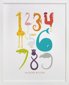 numbered animals print - nursery room