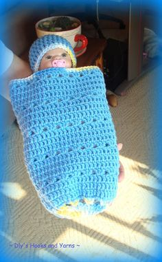 ~ Dly's Hooks and Yarns ~: ~ 'little boy blue' preemie baby cocoon ~