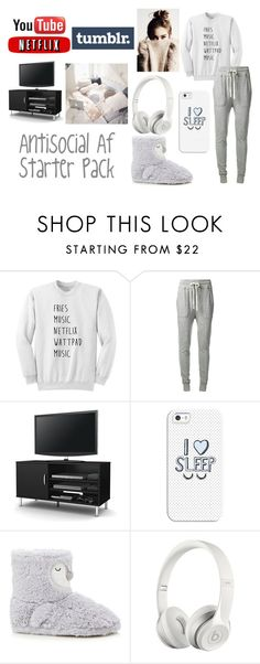 """""""Antisocial Af Starter Pack"""" by renaejade517 ❤ liked on Polyvore featuring James Perse, South Shore, Casetify, Beats by Dr. Dre, nolife, youtube, chill and netflix"""