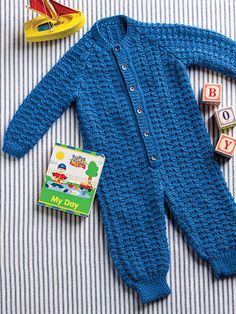 Cable & Rib Romper ~ keep them warm & cozy when going for a walk or in the stroller or carriage ~ intermediate skill ~ sizes incl. 6 mos. to 18 mos. ~ use med. weight yarn (worsted) ~ KNITTING ~ luv the stitches in this.