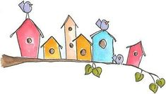 love those doodle bird houses! vk - Main Street…love those doodle bird houses! vk You are in the right place about Home diy painting - Doodle Drawings, Doodle Art, Bird Doodle, Watercolor Cards, Watercolor Paintings, Watercolour, Karten Diy, Buch Design, Bird Art