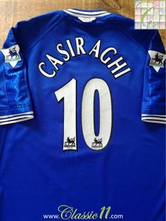 Official Umbro Chelsea home football shirt from the 1999/00 season. Complete with Casiraghi #10 on the back of the shirt in official Lextra lettering, and Premier League patches on the sleeves.