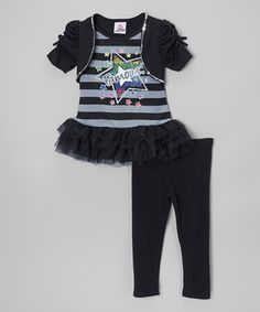 Loving this Real Love Black 'Famous' Tutu Tunic & Leggings - Toddler & Girls on #zulily! #zulilyfinds