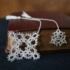 Snowflake and ice crystal tatted bookmarks - so pretty! $6.49
