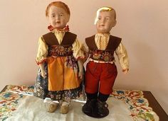 Rare Pair Brother & Sister Wagner & Zetzche Art Dolls  Fabulous - Paula's Doll Memories #dollshopsunited