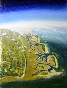 """""""Ostfriesische Inseln bei Ebbe"""", Ölpastell auf Karton 29x21"""