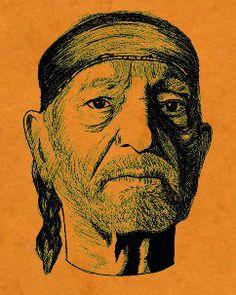 Willie Nelson  Red Headed Stranger  Screen Printed art by bmethe