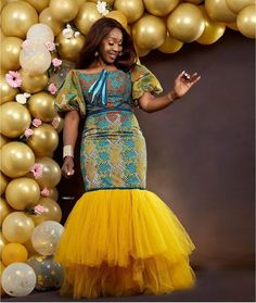 Chinelo Obi-Nwogu rocks stunning African print gown for her birthday. Chinelo Obi Ankara and lace birthday gown from ATMKollectionz brand Latest African Fashion Dresses, African Dresses For Women, African Print Dresses, African Print Fashion, African Attire, Ankara Fashion, Latest Ankara Short Gown, Ankara Short Gown Styles, Kente Styles