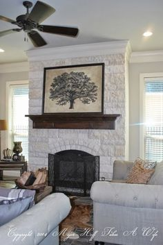 Tour it Thursday: A Texas Modern Country Home & Monthly Home Tour Link Party – Stone fireplace living room Wood Mantle Fireplace, Farmhouse Fireplace, Fireplace Remodel, Living Room With Fireplace, Fireplace Design, Home Living Room, Stone Mantle, Fireplace Facade, Fireplace Decorations