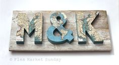 3 Dimensional Map Letters on Reclaimed Wood - 22 Inches. From the same ETSY as the last pin. Love the aged wood they are mounted on.