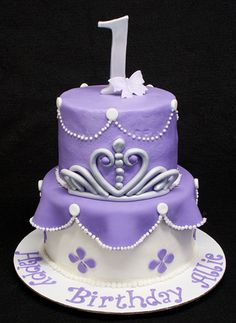 Birthday cake for a Sophia the First themed party.