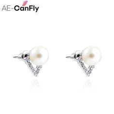 2017 Cute Luxury Pearl Stud Earrings Crystal Triangle Earrings For Women Ear Jewelry Accessories SEC0004