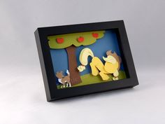 3-D MLP Applejack and Winona - Framed 5x7 Shadowbox Geek Paper Art My Little Pony Mane 6 Shadow Box