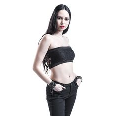 "9.99e Black Premium by EMP Bandeau-toppi, Naiset ""Ladies Long Laces Bandeau"" musta • EMP.fi"