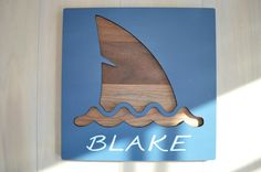 Shark Decor Shark fin SignWood Sign Navy & Walnut by BlueBombora