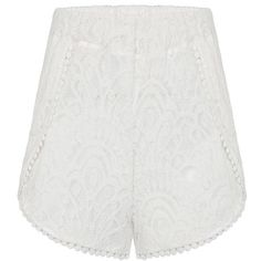 Yoins White High-Rise Lace Shorts ($16) ❤ liked on Polyvore featuring shorts, yoins, white, highwaist shorts, white lace shorts, lacy shorts, elastic waist shorts y high rise shorts