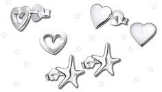 Orecchini argento 925 regalo per San Valentino. Varie forme: Cuore, Cuore Aperto e Stella. Offerta a tempo limitato. SPEDIZIONE GRATUITA. Pagamenti sicuri