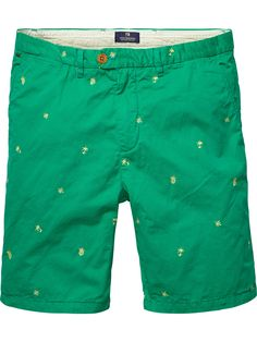 Scotcha and Soda Allover embroidered chino shorts  COLOUR: JUNGLE GREEN Article number: 14010281141