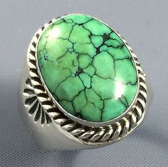 20g-Old-Pawn-Navajo-ROBERT-KELLY-Sterling-SPIDERWEB-Turquoise-MENS-Ring-Sz-11-5