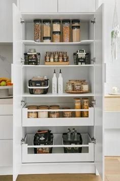 Cheap Home Decor Yes pantry journey strong! Home Organisation Labels & Storage Solutions Kitchen Pantry Design, New Kitchen, Kitchen Decor, Small Kitchen Pantry, Eclectic Kitchen, Kitchen Layout, Kitchen Furniture, Wood Furniture, Kitchen Organization Pantry