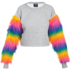 Fur Crop Sweater Jumper Top Womens Tumblr Hipster Grunge Kawaii Cute... (435 SEK) ❤ liked on Polyvore featuring tops, sweaters, shirts, pink, women's clothing, pink shirt, grunge shirts, cropped shirts, hipster shirts and rainbow sweater
