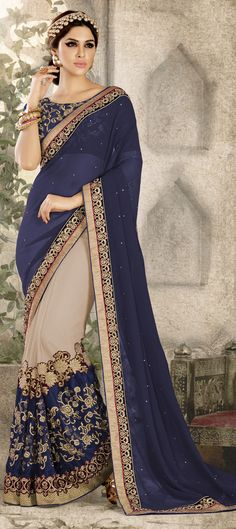 Best range of latest indian designer sarees collection for wedding and parties. Grab the fancy fabric and faux chiffon blue and navy blue half n half designer saree. Designer Sarees Collection, Saree Collection, Latest Indian Saree, Indian Sarees, Saris, Indian Dresses, Indian Outfits, Embroidery Saree, Art Silk Sarees