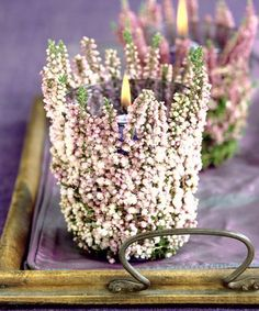 Heather covered candles, easy to make and so affective