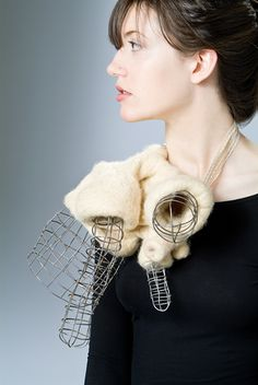 "Uncanny Objects | Nikky Bergman Custom Contemporary Jewelry - ""Anti-body,"" wool felt, steel, elastic, silver 9""x9""x5"", 2008"