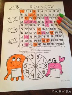5 in a Row 'Print and Play' number game worksheet - familiarisation with 100 chart FREEBIE