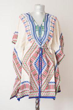 Tribal Tunic Caftan Rayon Kaftan Beach Wear Resort wear by Urbe