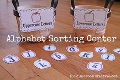 alphabet literacy center apple themed for preschool, kindergarten, and first grade