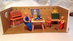 Two Vintage Dora Kuhn Style German Wood Dollhouse Open Rooms Furniture Dolls   eBay