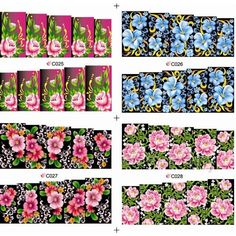 $1.73 4Patterns Newly Gorgeous Colored Floral Patterned Nail Art Water Decals Transfers Sticker - BornPrettyStore.com