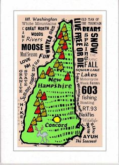 NEW HAMPSHIRE State Print Digital Illustration Map By Mollymattin - State of new hampshire map