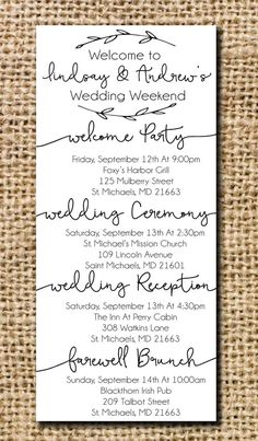 Wedding Itinerary for Hotel Bags – Destination Wedding Welcome Bags Wedding Hotel Bags, Wedding Guest Bags, Wedding Gifts For Guests, Wedding Ideas, Diy Wedding, Wedding Venues, Dream Wedding, Camp Wedding, Wedding Stuff
