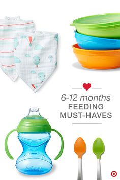 Between 6–12 months, your baby will show an interest in solid foods and even start feeding themselves. Have the feeding must-haves ready for each stage. Bowls, utensils, sippy cups and bibs are a definite necessity! These Aden + Anais Baby Up bandana bibs are a cool, fashionable twist on a classic! Ahh… welcome to self-feeding!
